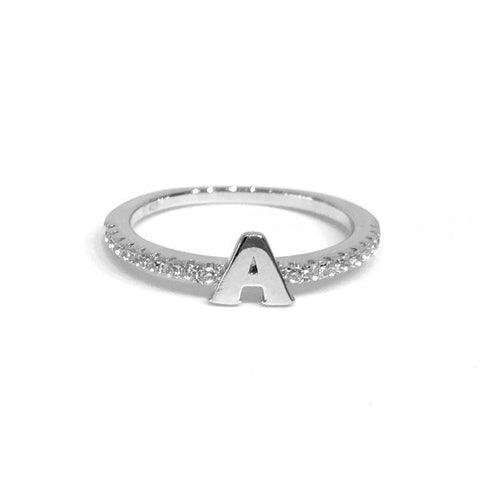 Initial Sparkle SILVER Ring