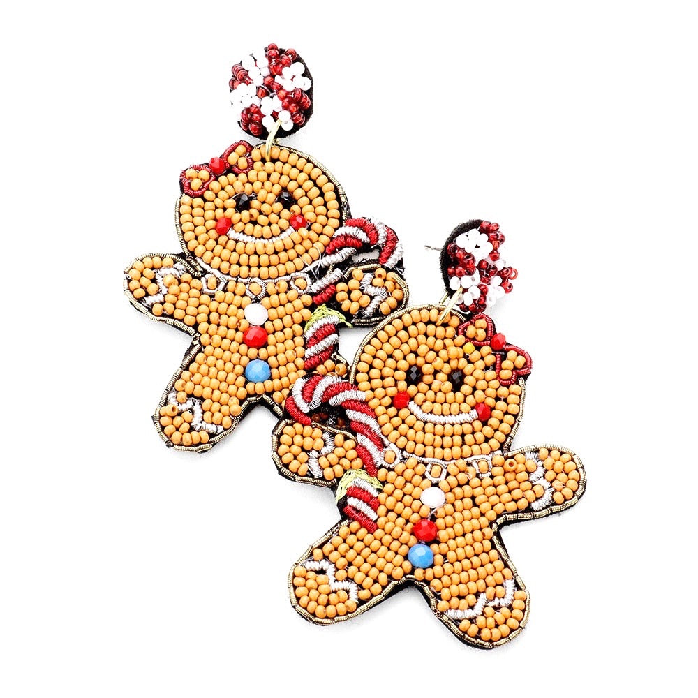 Holiday Gingerbread Beaded Earrings