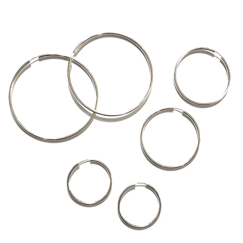 Sterling Silver Hoops Silver Thick