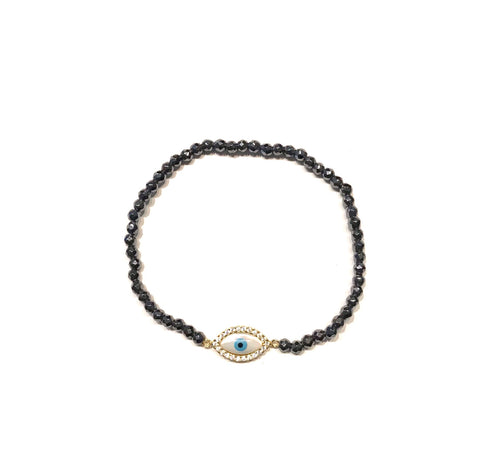 Evil Eye Mother of Pearl Hematite Bracelet