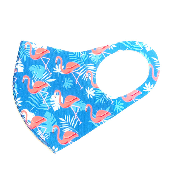 Noellery Strong Adult Unisex Light Blue Flamingo Face Mask