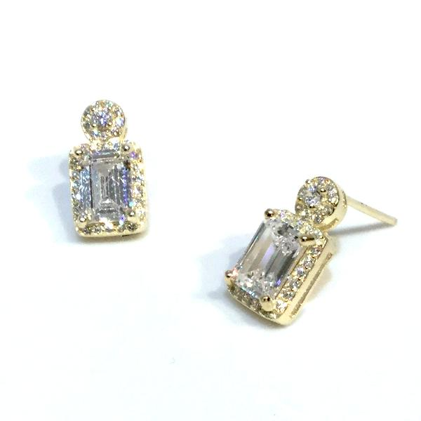 Adriene Emerald Cut Rectangle Studs