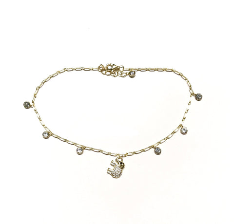 Elephant CZ Link Chain Anklet