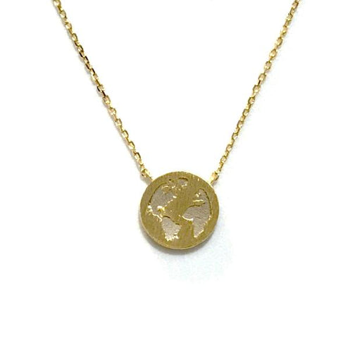 World Map Brass Necklace