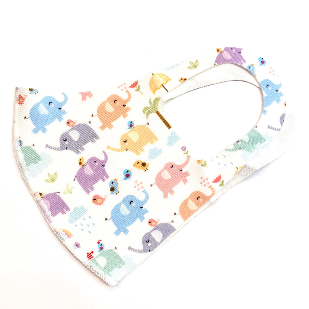 Noellery Strong Unisex Children's Elephant White Multicolor Reusable Face Mask