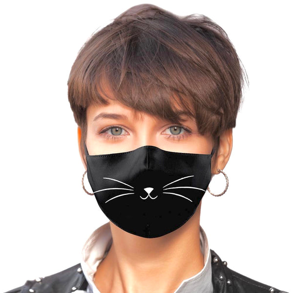 Noellery Strong Adult Cotton Black Cat Print Reusable Face Mask
