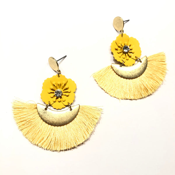 Lily Flower Tassel Earrings