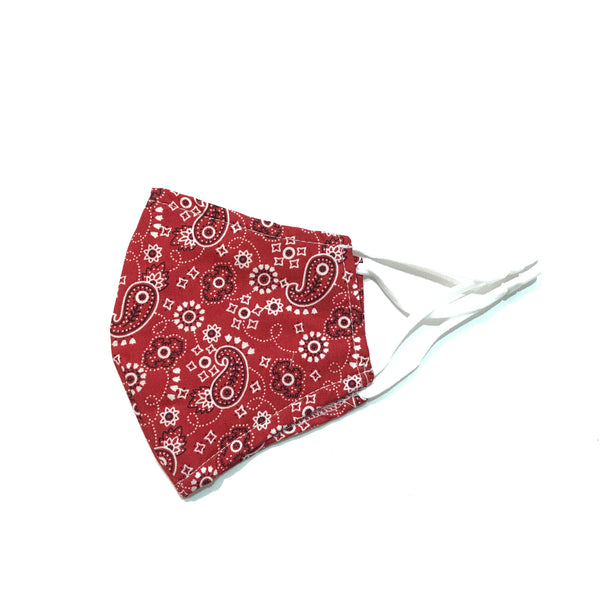 Noellery Strong Adult 100% Cotton Red Paisley Reusable Face Mask