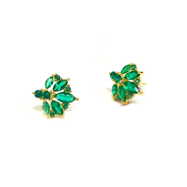 Emerald Cluster Earrings