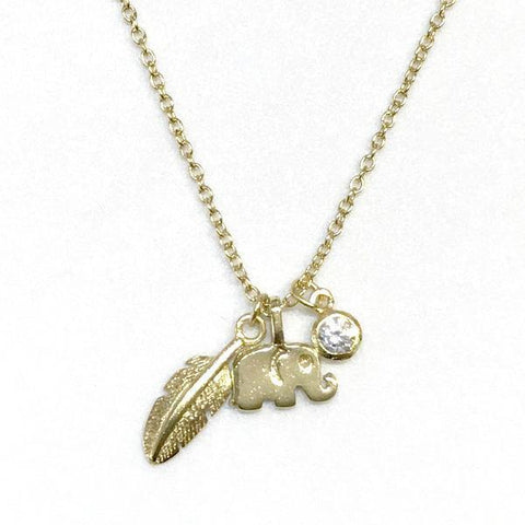 Elephant Feather Charm Necklace