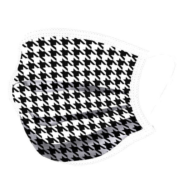Noellery Strong Adult 100% Cotton Houndstooth Black White Print Reusable Face Mask