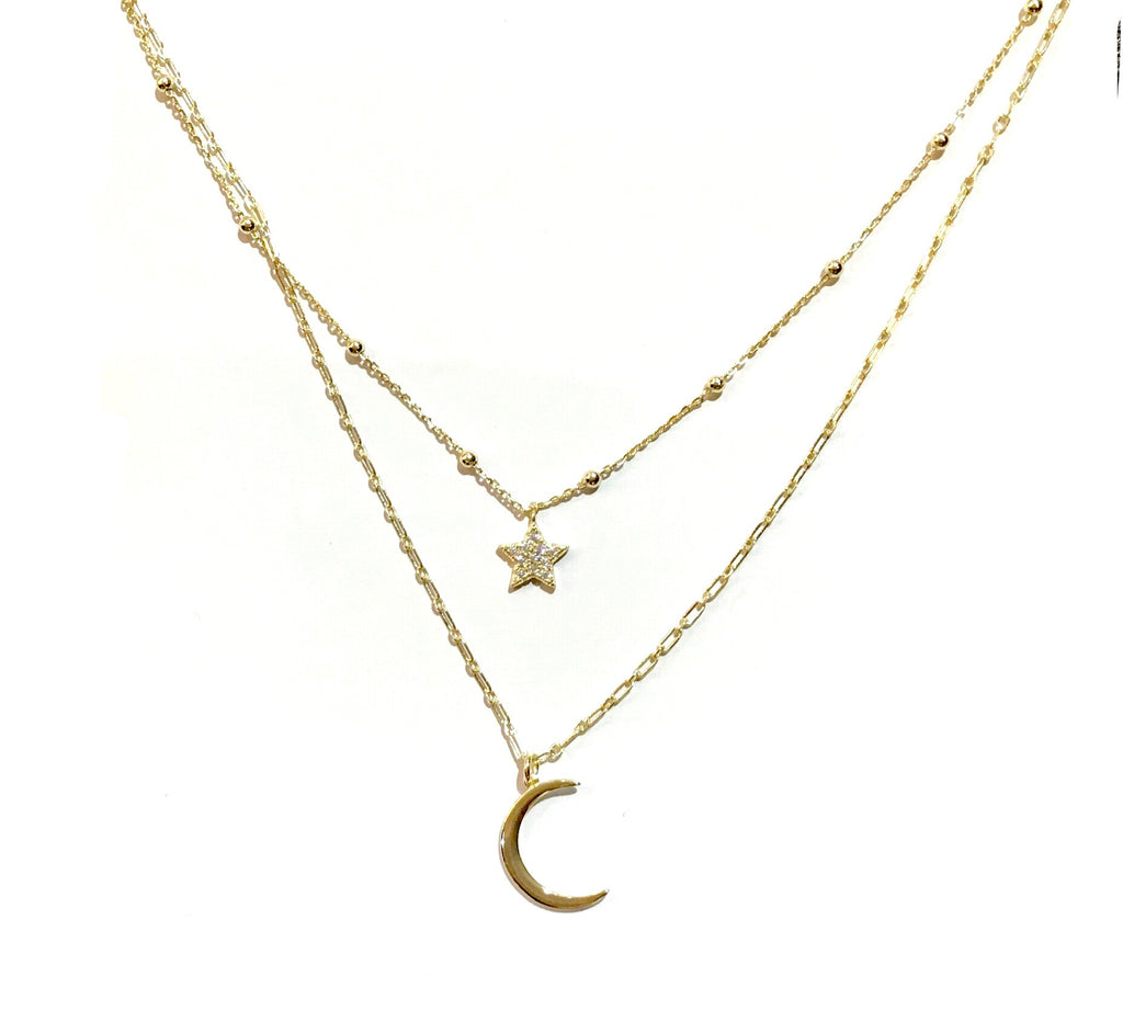 Layered Moon Star Long Link Chain Necklace