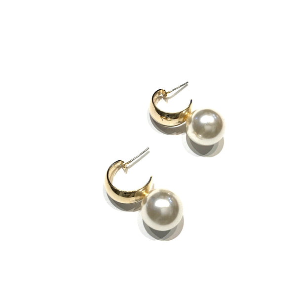 Kory Thick Hoop Pearl Studs