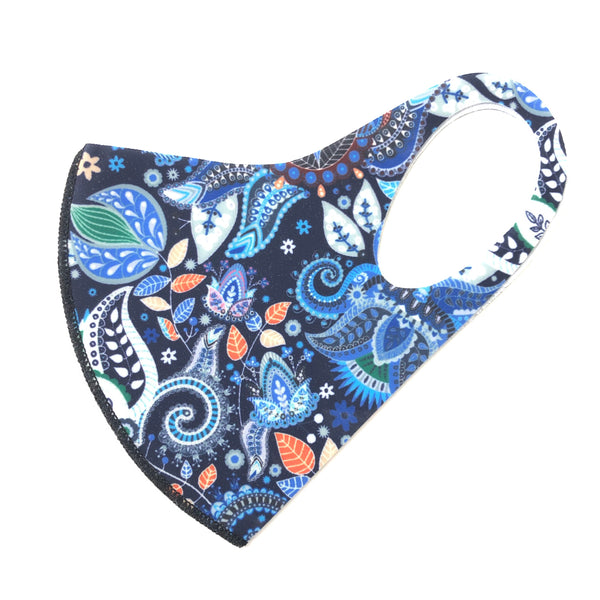 Noellery Strong Adult Unisex Blue Paisley Reusable Face Mask