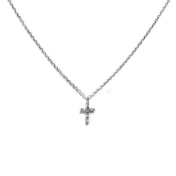 Tiny Cross Baguette Brass Necklace