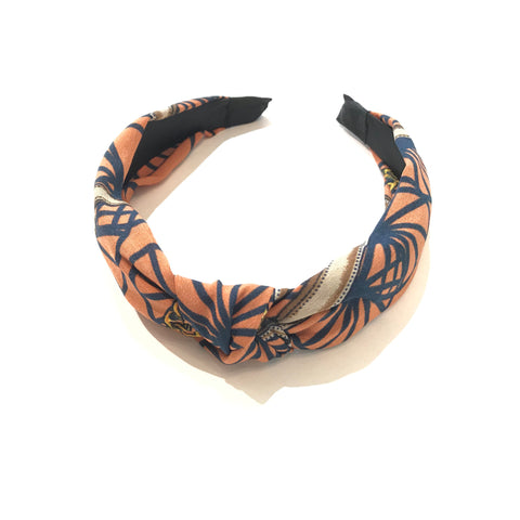 Orange Print Knotted Headband
