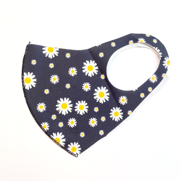 Noellery Strong Adult Unisex Flowers Black Daisy Sunflowers Mask