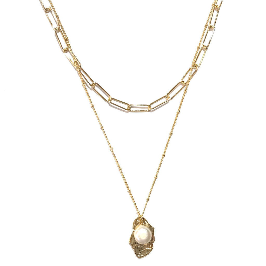 Kory Pearl  Layered Chain Necklace
