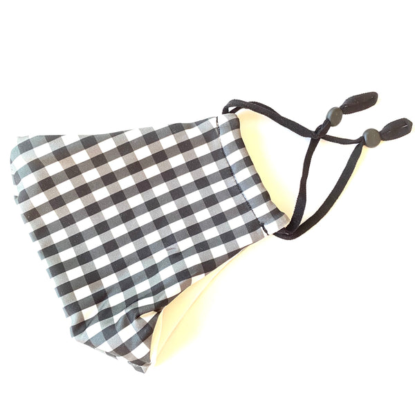 Noellery Strong Adult Cotton Black White Checkered Reusable Face Mask