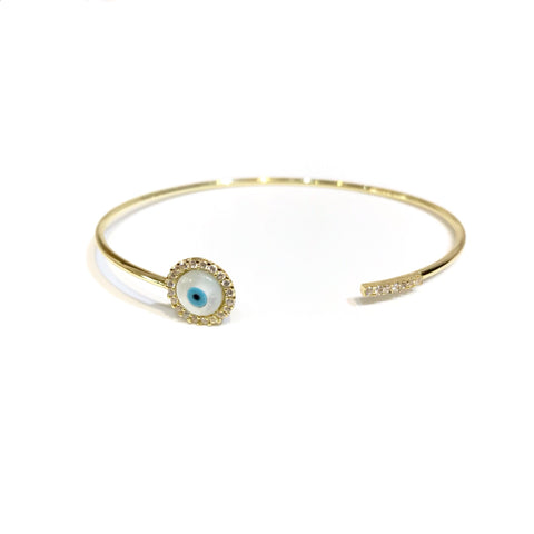 Evil Eye Bar CZ 925 SS Open Bangle