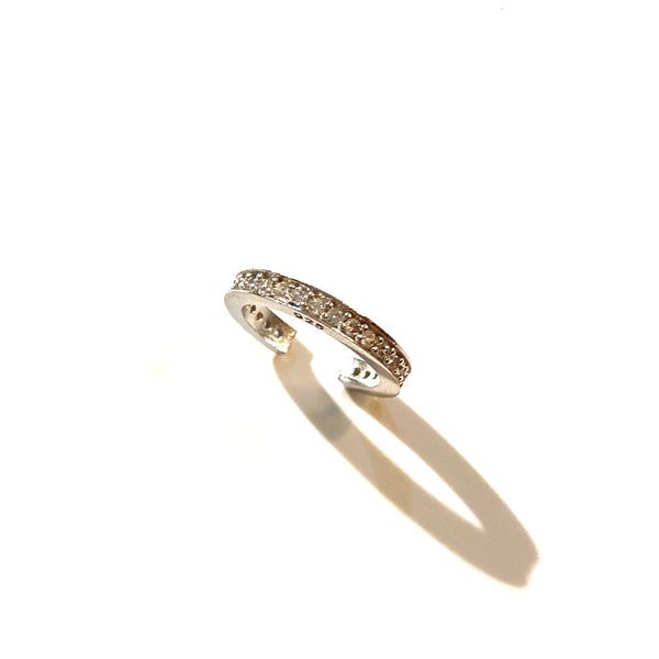 Sterling Silver Kufleen Wide Eternity Pave Conch Ear Cuff