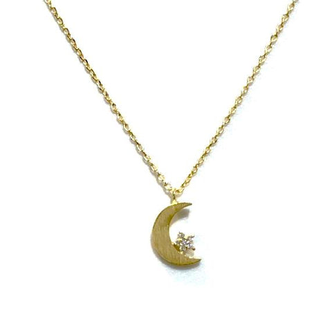 Star Moon CZ Brass Necklace