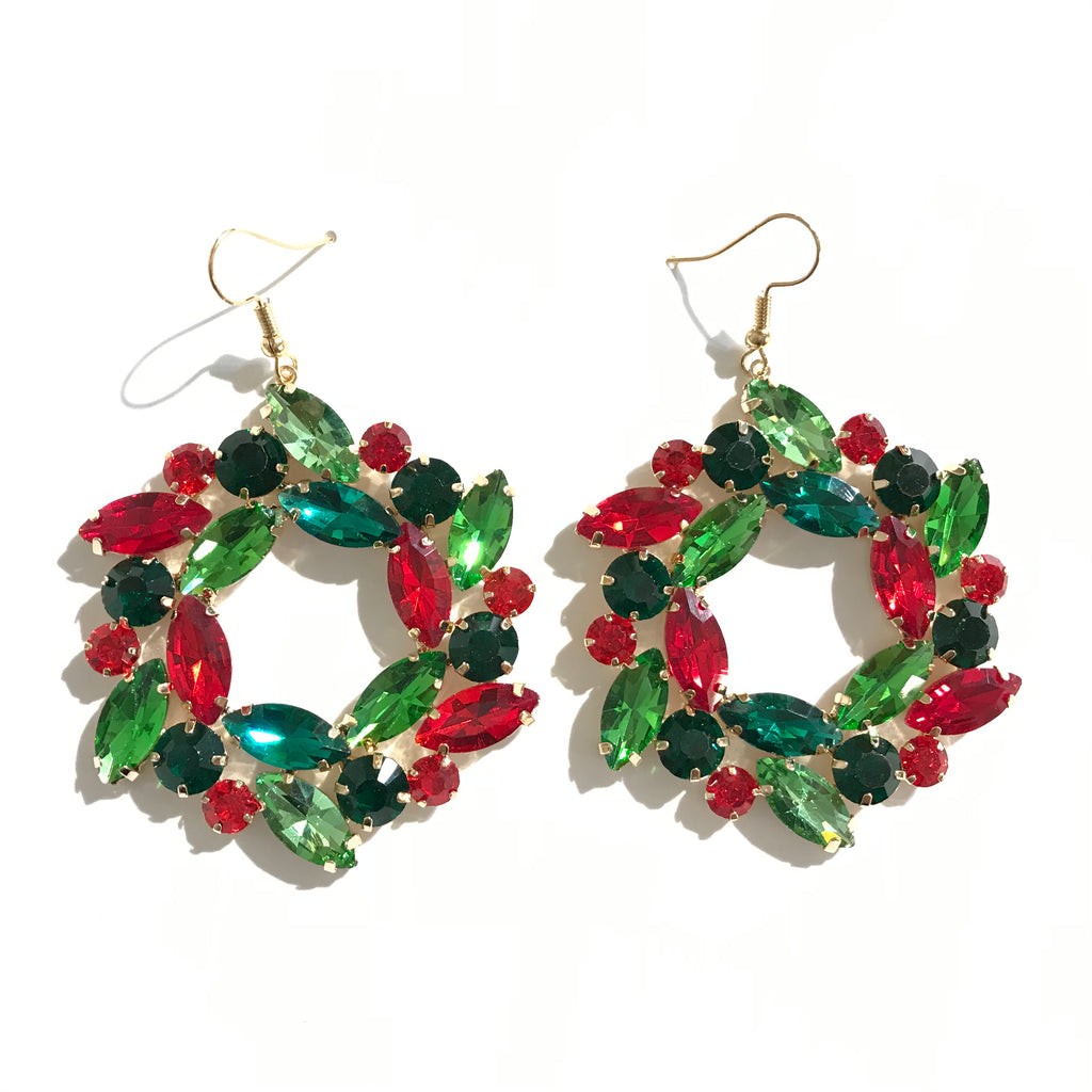 Gem Christmas Wreath Earrings