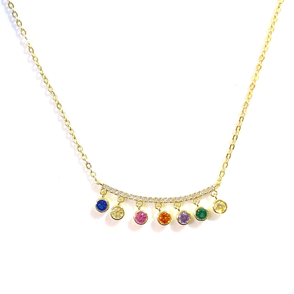 Gold Rainbow Bezel Charm Necklace