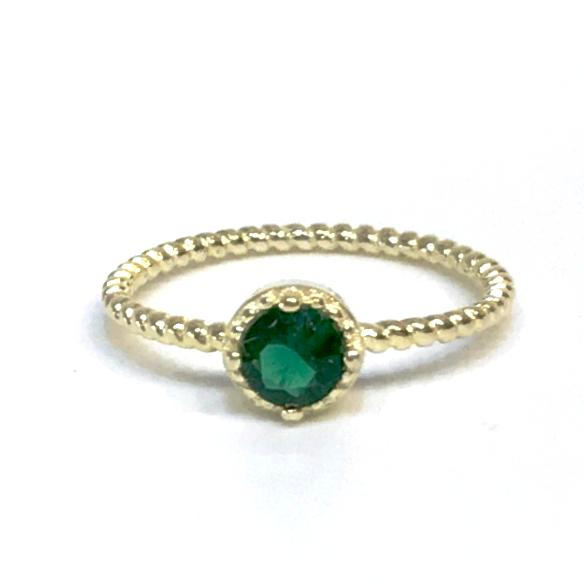 Noelia Rope Emerald Gemstone Ring