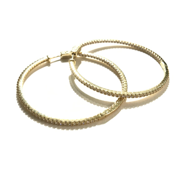 "French Clasp Pave Large 2"" Hoops"