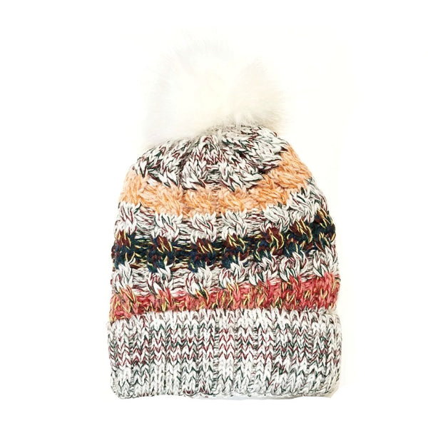 Brittany Cable Knit Striped Pom Hat