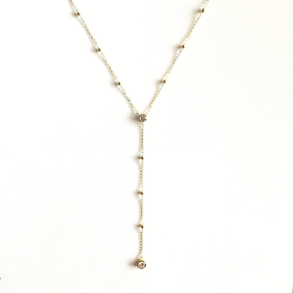 Laura Bezel Ball Lariat Necklace