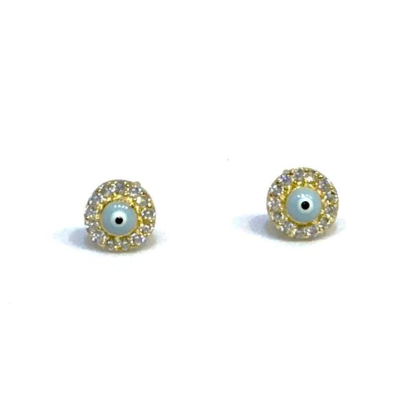 Evil Eye Light Blue CZ Studs