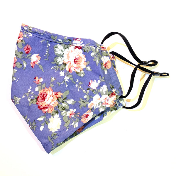 Noellery Strong Adult 100% Cotton Flower Print Blue Jean Reusable Face Mask