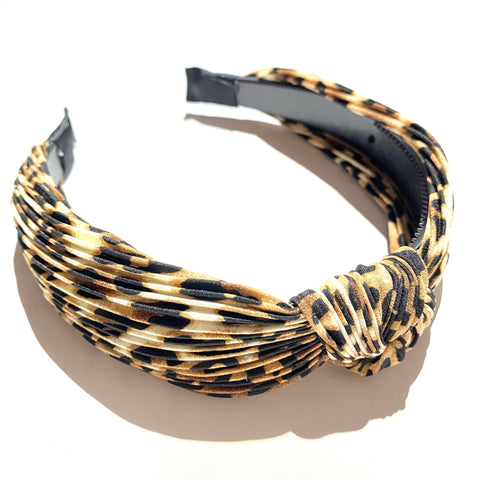Leopard Ruched Knot Headband