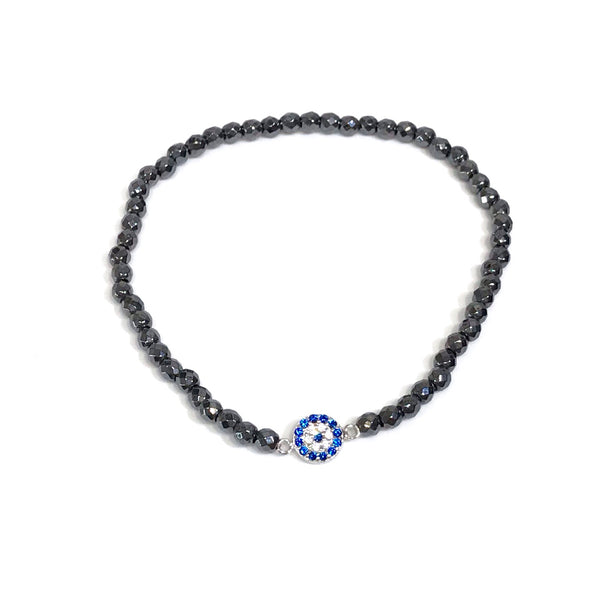 Evil Eye Round Hematite Stretch Bracelet