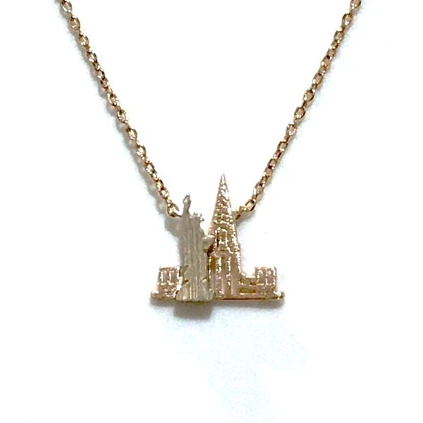 New York Skyline Brass Necklace