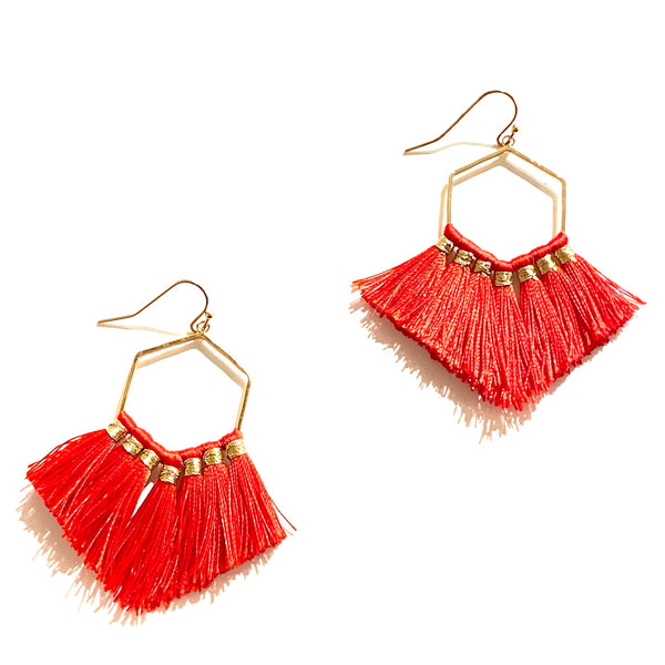 Lily Goldie Tassel Octagon Statement Earrings