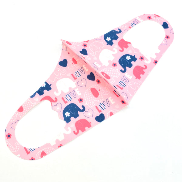 Noellery Strong Unisex Children's Elephant Love Pink Reusable Face Mask