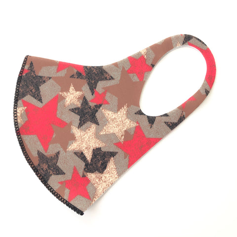 Noellery Strong Adult Unisex Brown Stars Reusable Face Mask