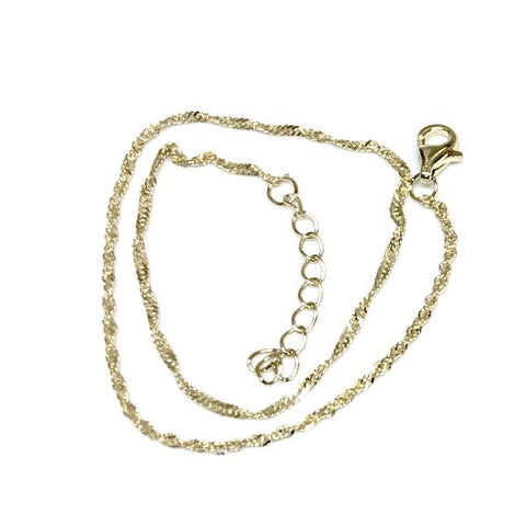 Sterling Silver Thin Twisted Anklet
