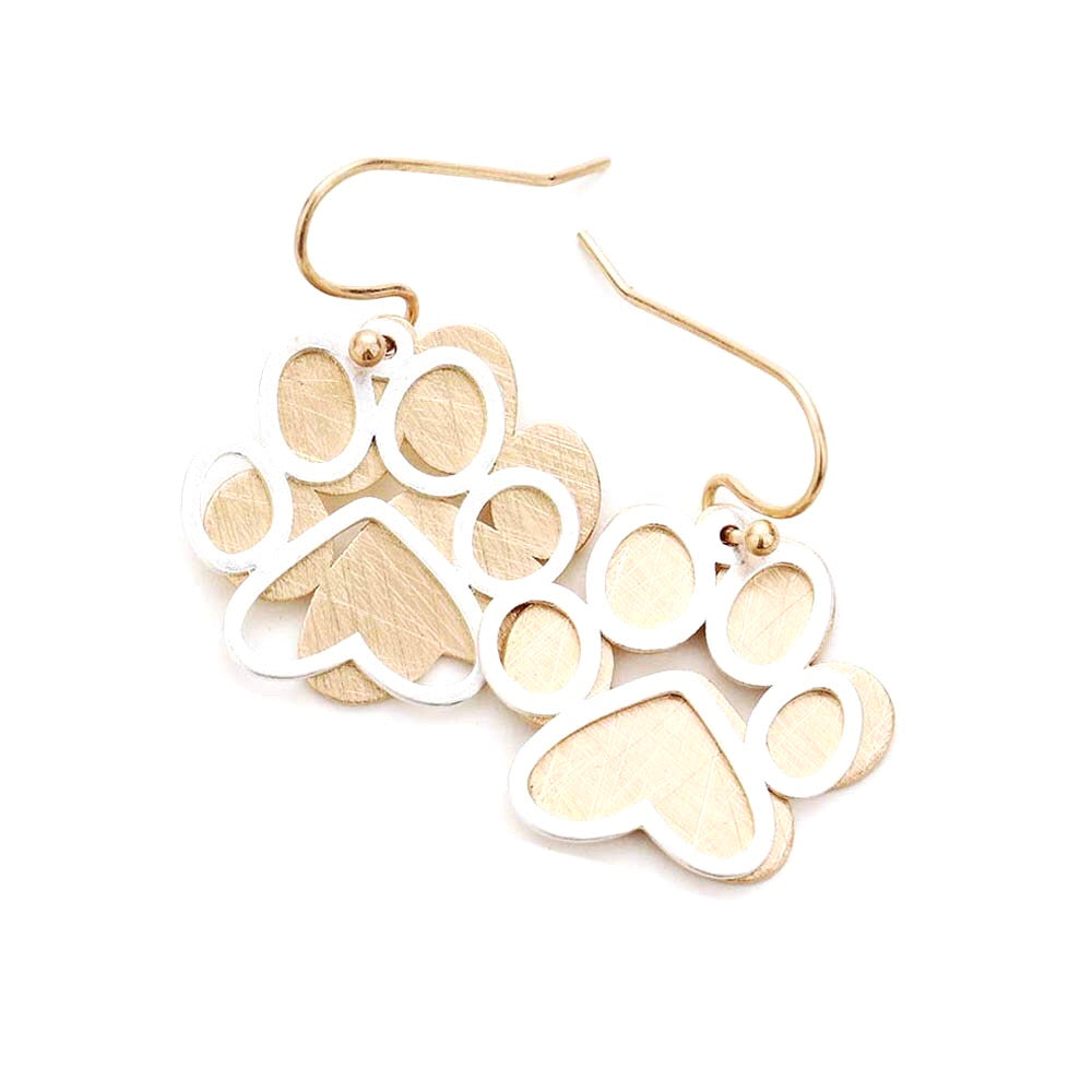 Paw Print Brushed Gold Two Tone Statement Earrings
