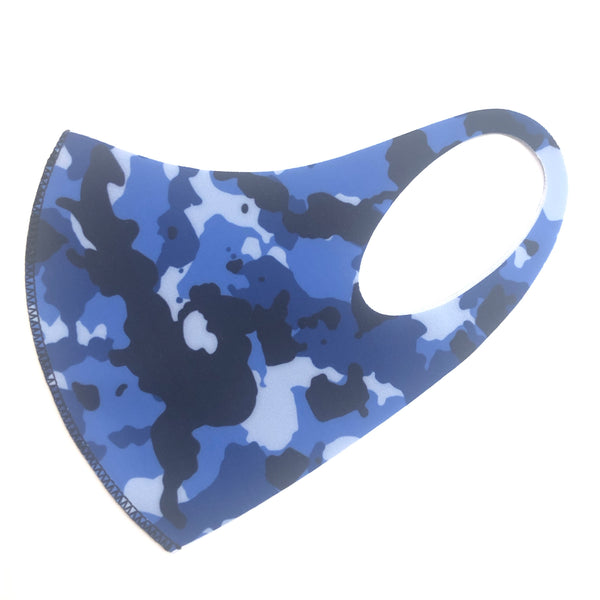 Noellery Strong Adult Unisex Blue Camo Reusable Face Mask
