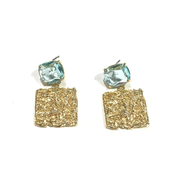Gemstone Square Color Earrings