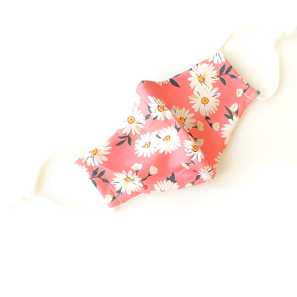 Noellery Strong Adult Cotton Pink White Daisies Reusable Face Mask
