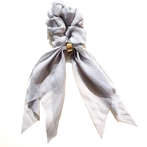 Hair Scarf Scrunchie Chiffon Silver Stripes Scarf