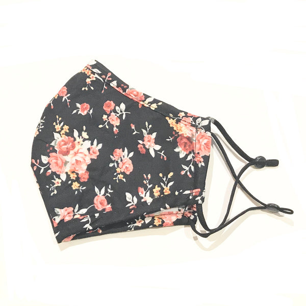 Noellery Strong Adult 100% Cotton Flower Print Black Reusable Face Mask