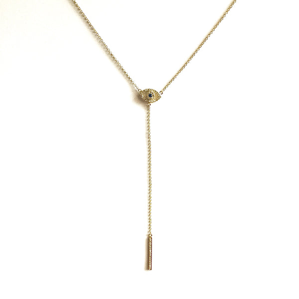 Laura Evil Eye Lariat Necklace
