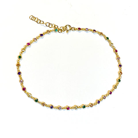 Sterling Silver Rainbow Bezel Anklet