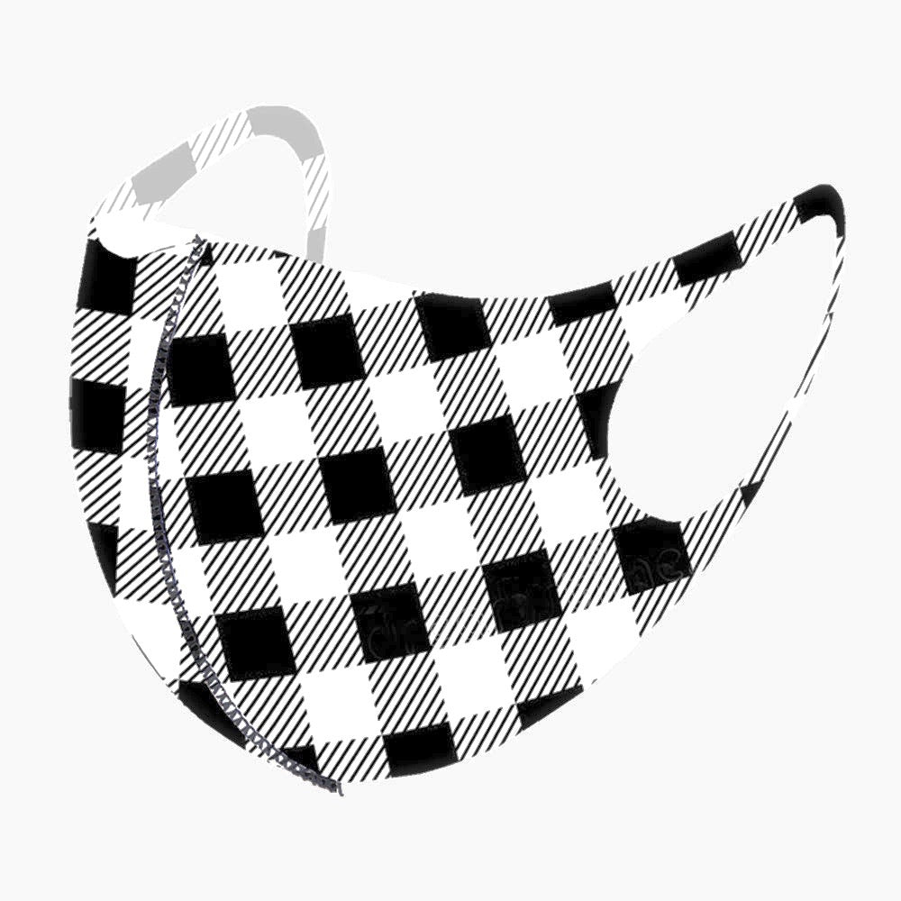 Noellery Strong Adult Unisex Buffalo Plaid Black White Face Mask